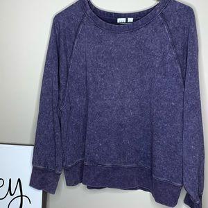 Gap Women's Purple Acid Wash Sweatshirt   Pullover